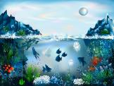 Wall Murals for Kids & Posters - Decorate the kids room with a sea-inspired, dreamy wall mural. Under a morning sky and a pearly moon, two icebergs grow down into the ocean, becoming ...