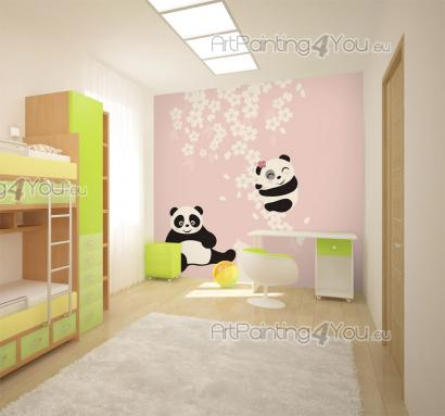Wall Murals for Kids & Posters - Soften the decor of a baby or kids room with a simple, yet gorgeous wall mural with a light pink background. A large Japanese cherry branch filled wit...