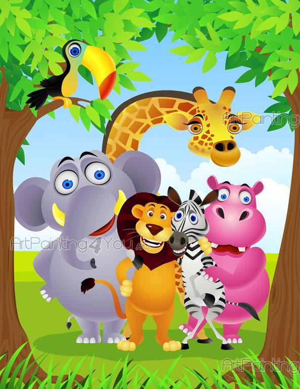 Safari Zoo Animaux - Papier Peint Bébé & Posters  ArtPainting4You ...