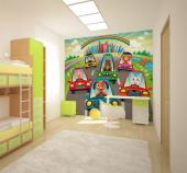 Wall Murals for Kids & Posters - What if animals lived in cities and had to go to work? According to this wall mural, it could be fun! Fill the kids room with colour by applying on a ...