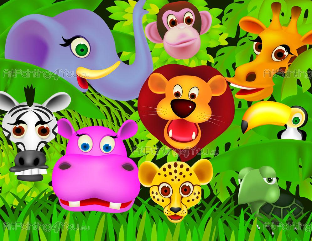 Wall Murals For Kids Jungle Animals Artpainting4you Eu