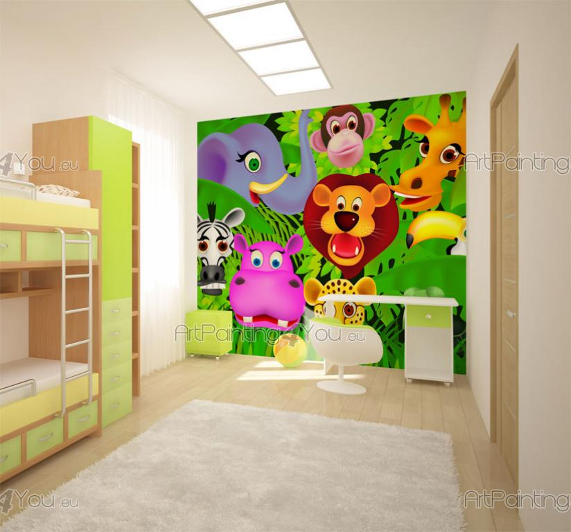kindertapeten fototapete kinderzimmer dschungel tiere 1468de. Black Bedroom Furniture Sets. Home Design Ideas