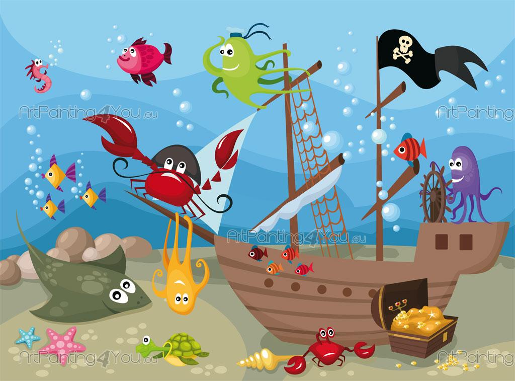Väggdekor G : Funny fishes wall murals for kids u posters artpainting you eu