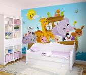 Tell your child a biblical bedtime story with a large picture book page as the background. Apply on a wall of the nursery or kid's room a colourful wall mural with Noah's Ark sailing away with many cute animals aboard and the sun shining above.