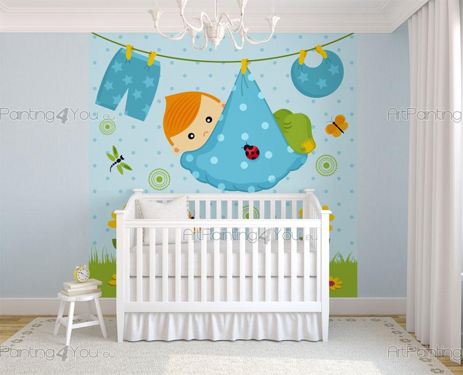 fotobehang kinderkamer babykamer canvas printen posters baby jongen id ...