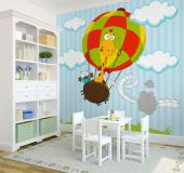 Wall Murals for Kids & Posters - Join the safari! Giraffes can't fly on their own, so they need a little help. This giraffe got a new colourful hot air balloon that, although is const...