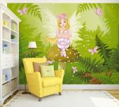 Wall Murals for Kids & Posters - Surrounded by ferns and pink butterflies and bathed by the last beams of sunlight, a fairy with roses on her head sits on a mushroom and thinks about ...