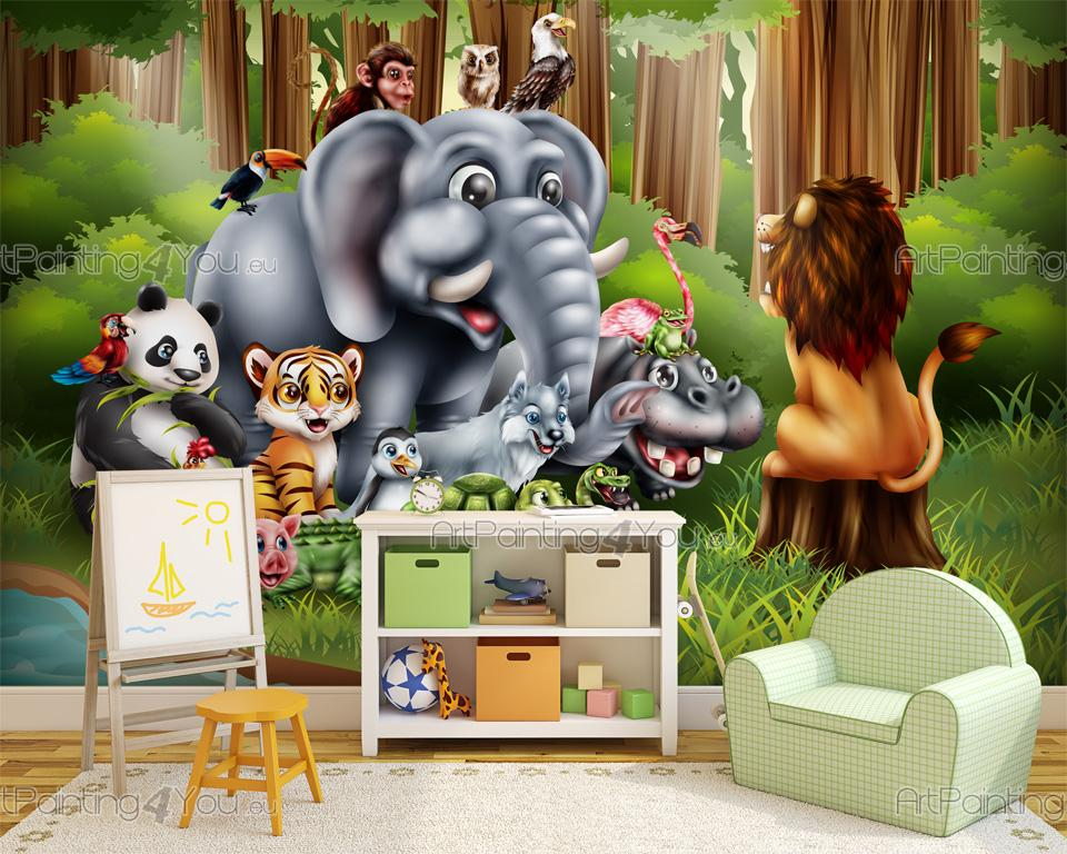Papier Peint Bebe Animaux Jungle Artpainting4you Eu Mci1044fr