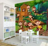 Travel to a lush jungle through a wall mural. Apply the wallpaper above on a wall of the room of your baby or kids and join them in a visit to the most lovely family in the rainforest. Play, eat bananas and go inside the treehouse of these fun-loving monkeys!