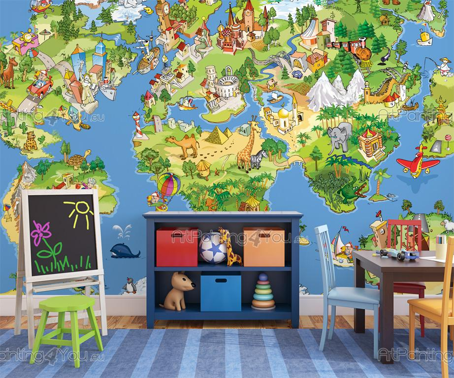 papier peint b b carte du monde enfants mci1046fr. Black Bedroom Furniture Sets. Home Design Ideas