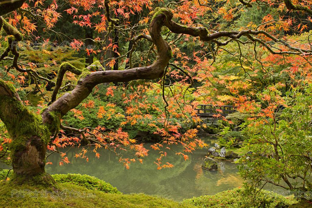 Japanese Garden   Landscape Wall Murals Showing A Stunning Japanese Garden  With A Lake