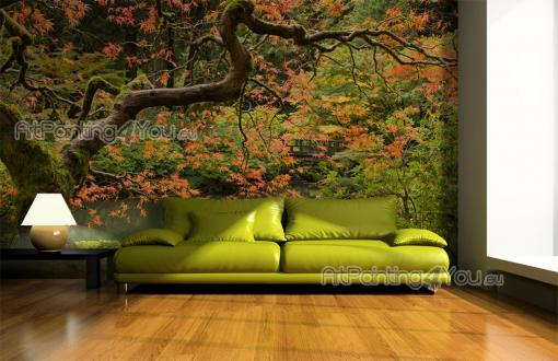 Wall Murals & Posters - Custom-sized wall mural or canvas on the theme of nature. Sit on the grass and enjoy the quietness of a Japanese garden after the arrival of Autumn: t...