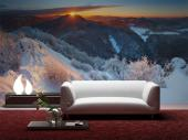 Snow Landscape Sunset - Sunset Wall Murals & Posters
