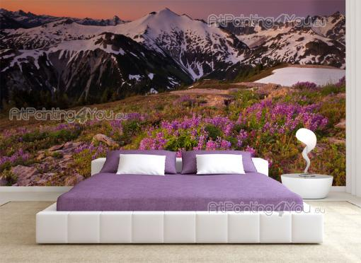 Snow Landscape Sunset - Wall Murals Nature Landscape & Posters