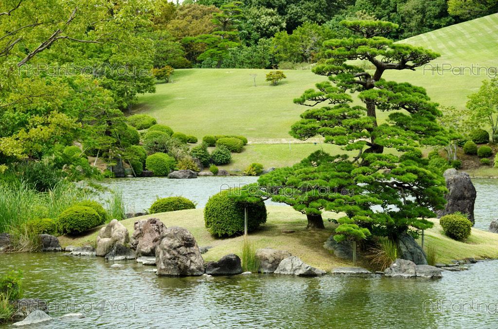Fototapet landskap, posters & canvastryck japansk trädgård (1814sv)