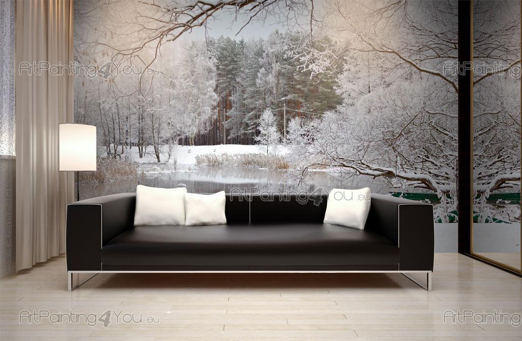 Papier peint paysage poster impression sur toile neige for Poster sur toile