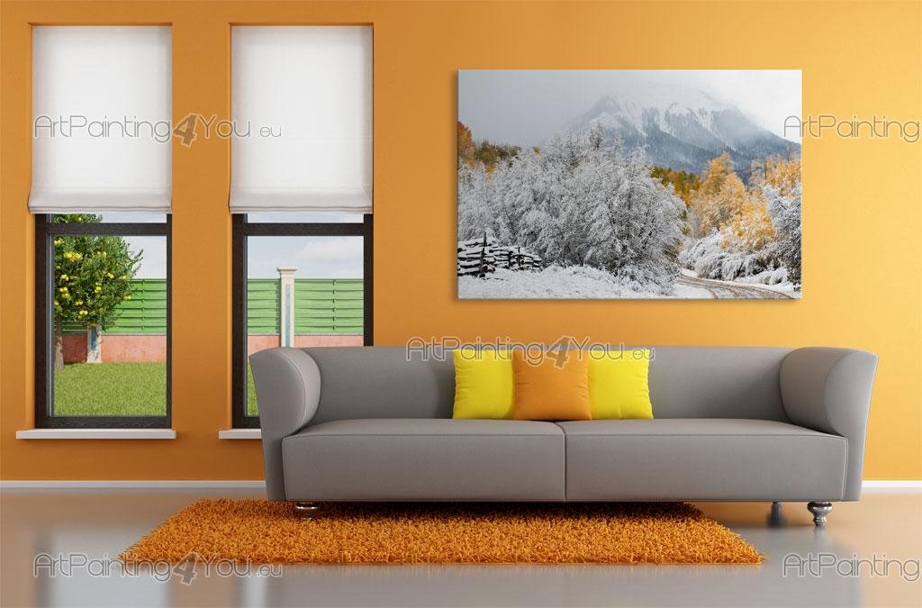 papier peint paysage poster impression sur toile neige. Black Bedroom Furniture Sets. Home Design Ideas
