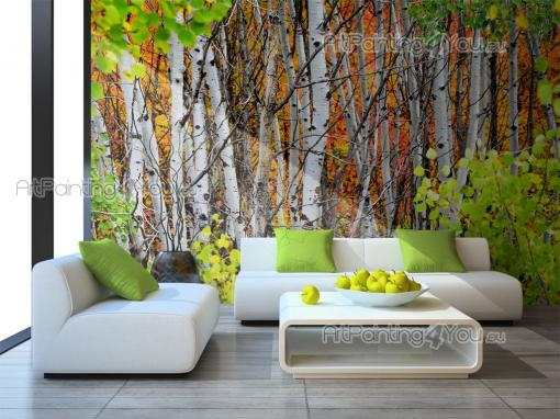 Wall murals landscape canvas prints posters aspen trees for Aspen tree wall mural