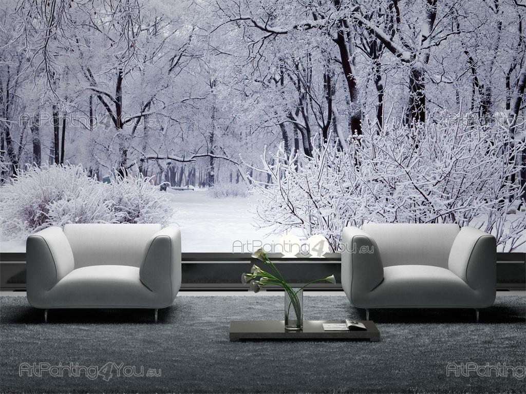 papier peint paysage poster impression sur toile neige arbres 2272fr. Black Bedroom Furniture Sets. Home Design Ideas