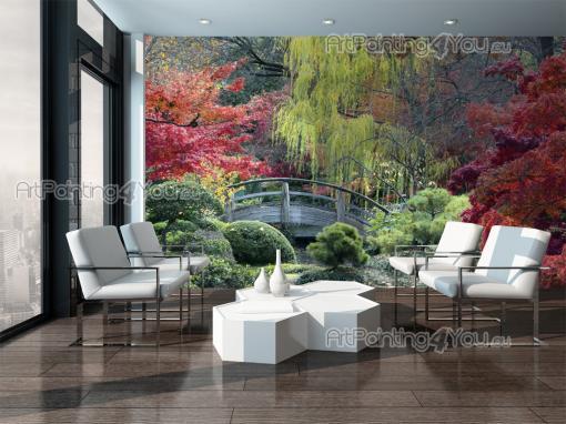 papier peint poster jardin japonais mcp1185fr. Black Bedroom Furniture Sets. Home Design Ideas