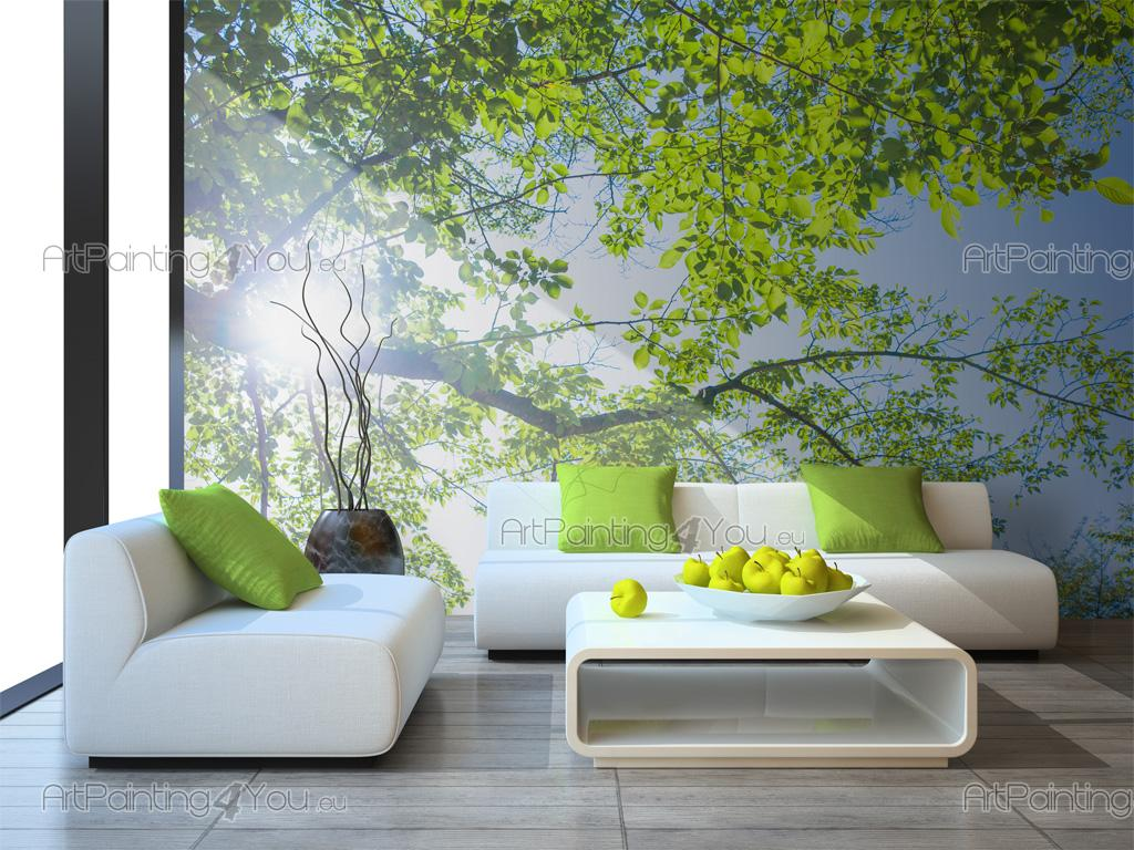 Tree Spring Day - Wall murals nature with a tree and green leaves in the spring