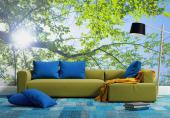 Wall Murals & Posters - Let the sunshine in! Decorate a living room or bedroom with a wall mural inspired by the fresh beauty of Spring. This wallpaper shows the Sun trying t...