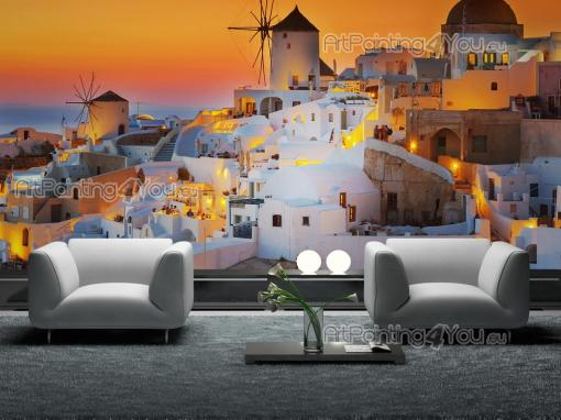 Sunset Wall Murals & Posters - Sit on your couch after a long working day and enjoy a magnificent sunset. This is the Greek island of Santorini, actually called Thira, where the sun...
