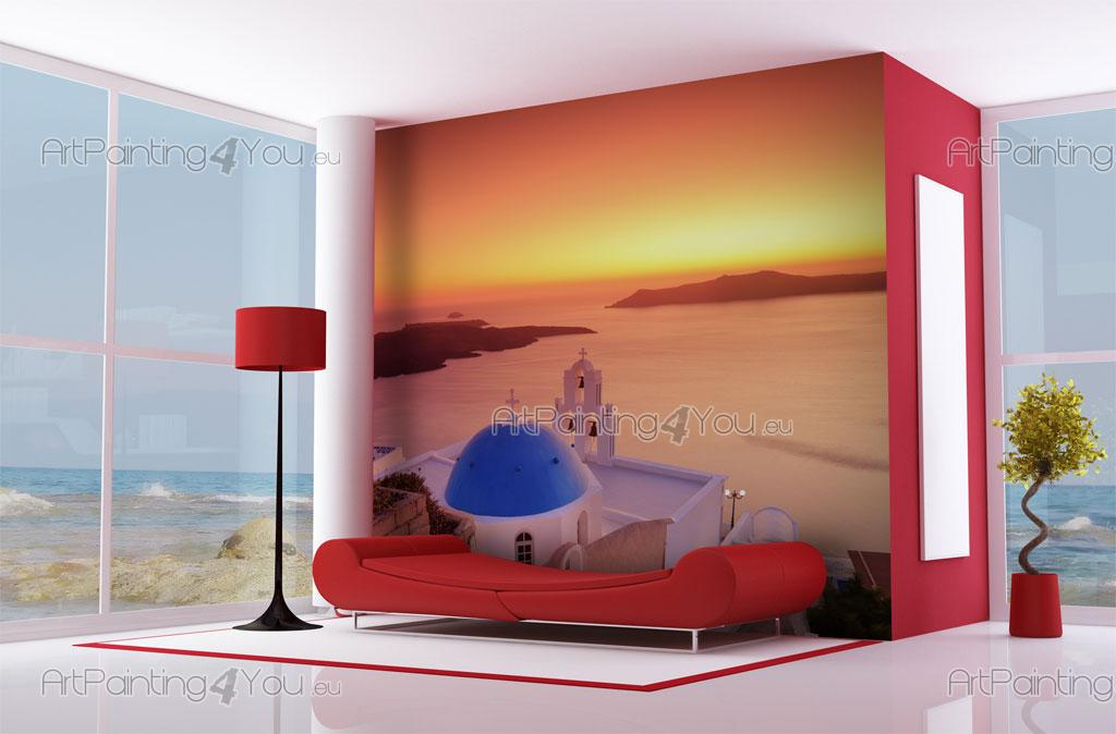 Wall murals sunset canvas prints posters santorini for Poster mural 4 murs