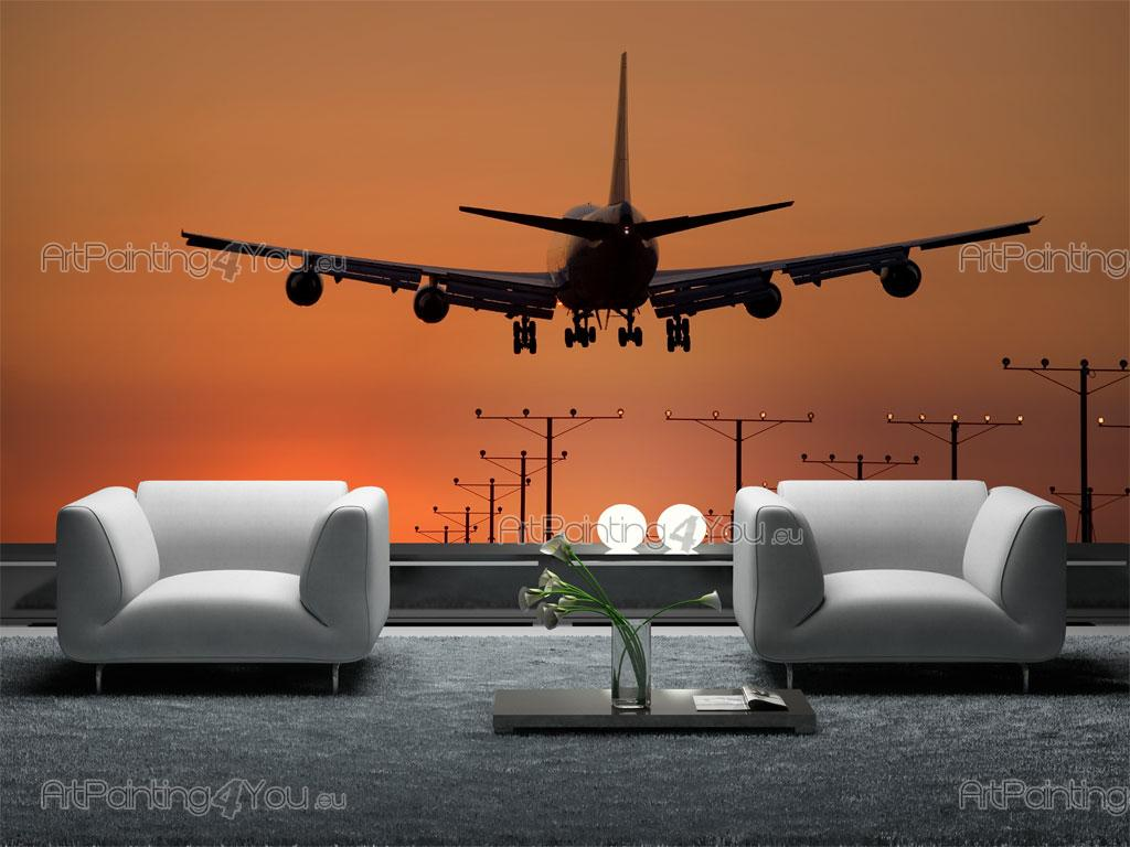 wall murals sunset canvas prints posters airplane 1255en