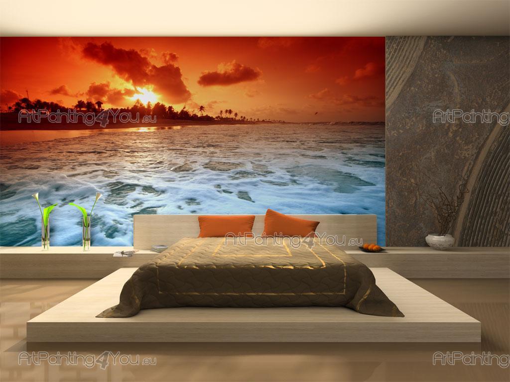 papier peint coucher de soleil poster impression sur toile plage coucher de soleil 1555fr. Black Bedroom Furniture Sets. Home Design Ideas
