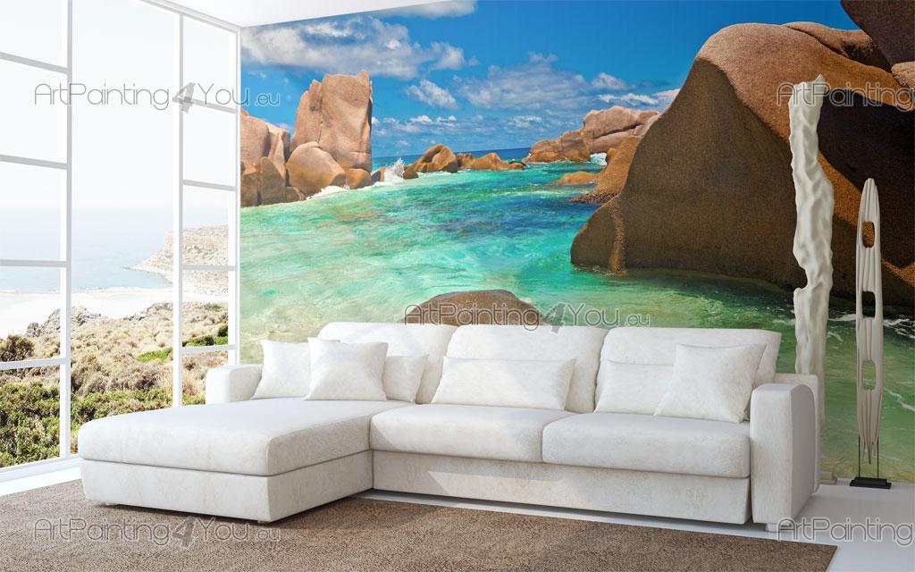 papier peint poster plage seychelles artpainting4you. Black Bedroom Furniture Sets. Home Design Ideas