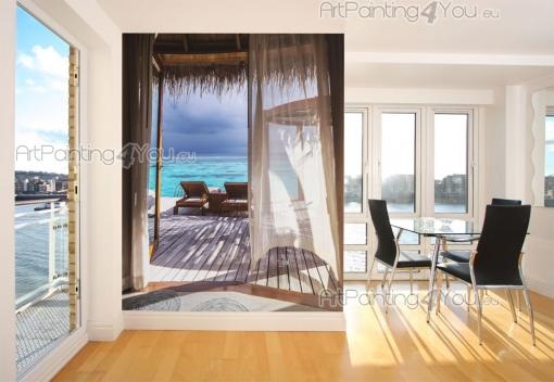 Tropical Beach Wall Murals & Posters - Travel to the Maldives through a wallpaper! Apply on a narrow wall a superb mural: open the window doors of your bungalow, lay on a chaise longue and ...