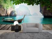 Tropical Beach Wall Murals & Posters - Take a trip whenever you want to the Phi Phi islands in Thailand. Thanks to our wall mural, that we suggest you have in your living room, sail along a...