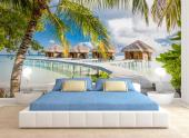 Maldives Islands - The Maldives are an island nation that every newlywed couple wants to travel to, even though they can't afford the stay! A stunning wall mural is a good alternative to an overly expensive honeymoon. Then, you will always have at home a bit of the Maldives: tropical wildlife, peaceful bungalows, wide beaches and white sand, and crystal-clear water.