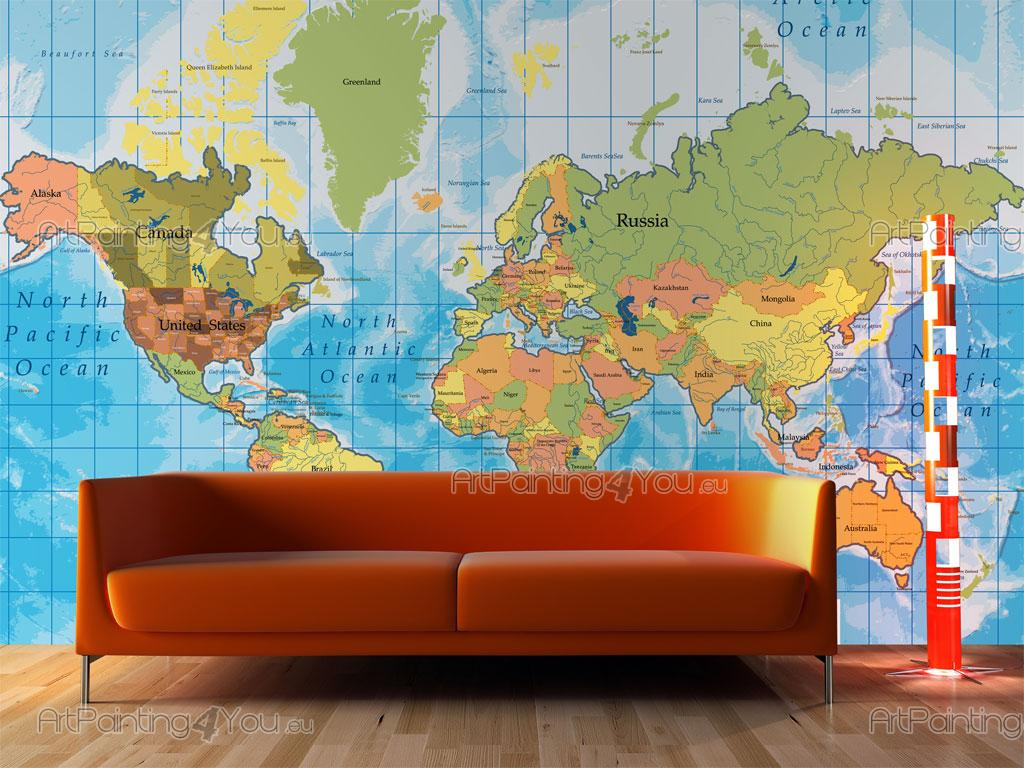 World map wall murals posters mcv1001en artpainting4you world map world map and travel wall murals posters amipublicfo Gallery