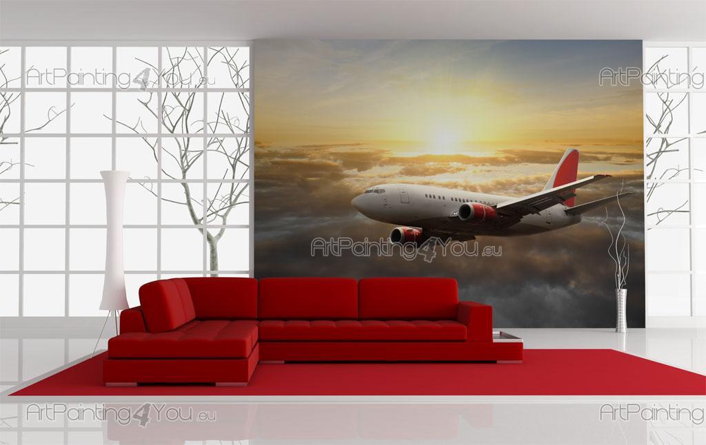 Papier peint voyage poster impression sur toile avion for Poster sur toile