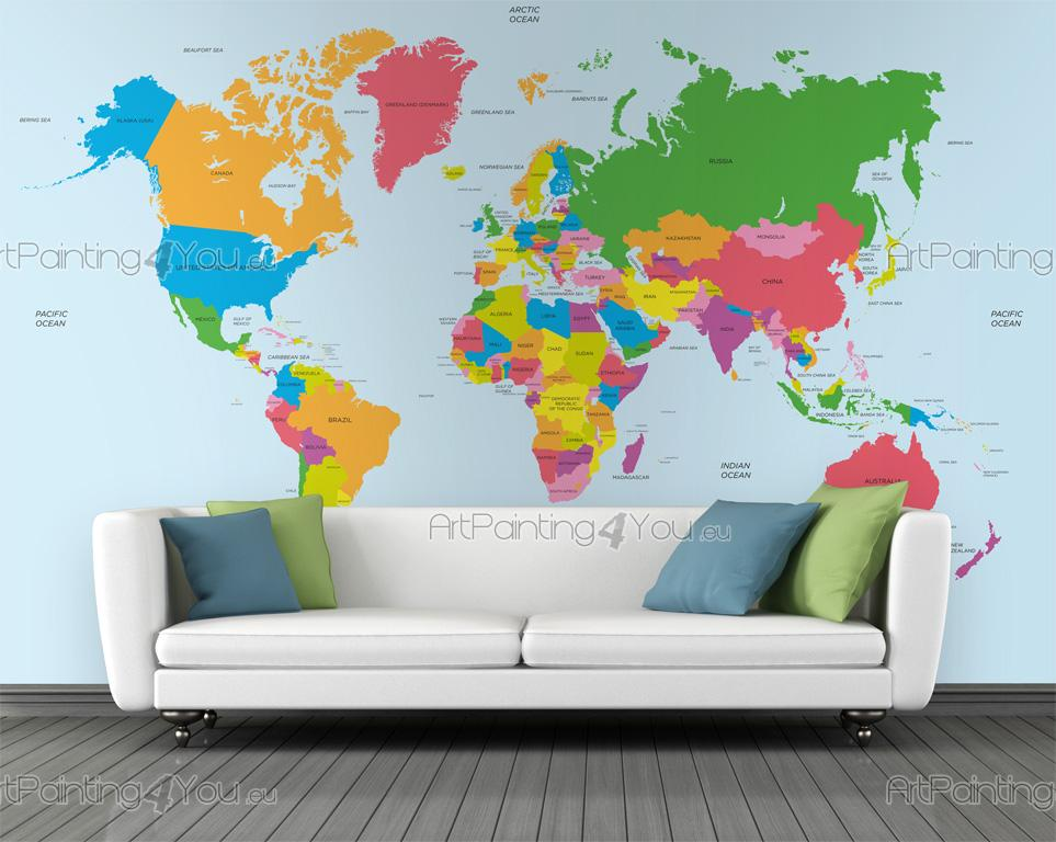 World Map Watermark.Wall Murals Posters World Map Artpainting4you Eu Mcv1011en