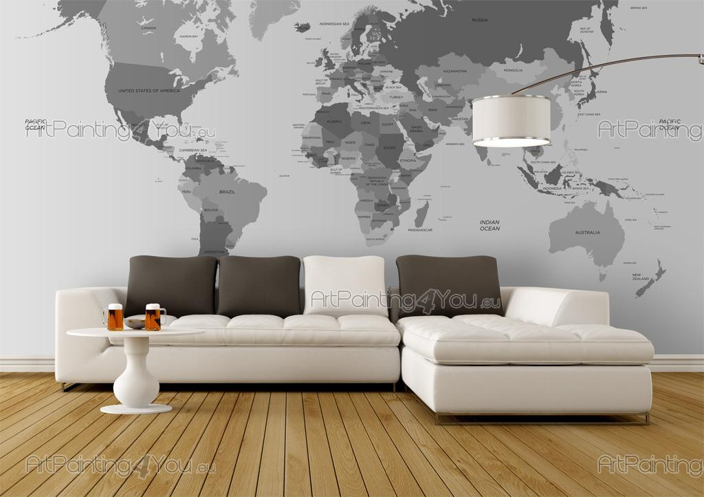 papier peint poster carte du monde. Black Bedroom Furniture Sets. Home Design Ideas