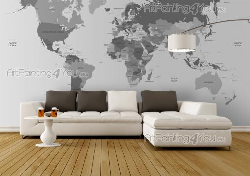 World Map - Black and White Wall Murals & Posters