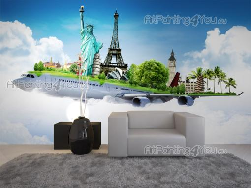 Airplane - World Map and Travel Wall Murals & Posters
