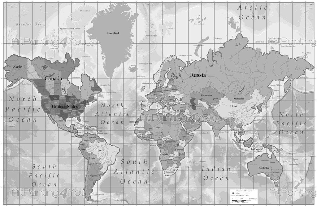 Carta da parati poster mappa mondo for Mappa mondo bianco e nero