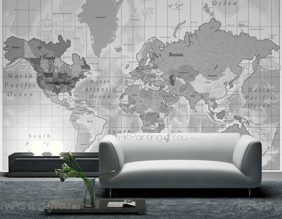 World map wall mural for Black and white world map mural