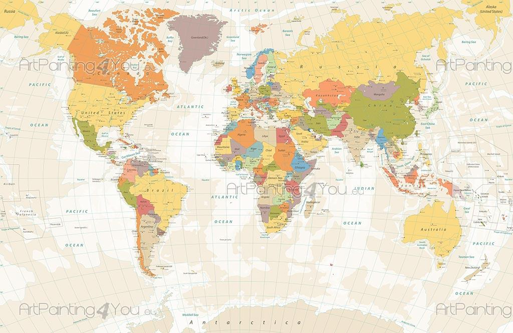 Wall murals posters world map artpainting4you mcv1018en are you looking world map do you enjoy the sight of a world map are you looking gumiabroncs Gallery