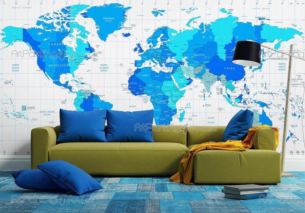 papier peint poster carte du monde. Black Bedroom Furniture Sets. Home Design Ideas