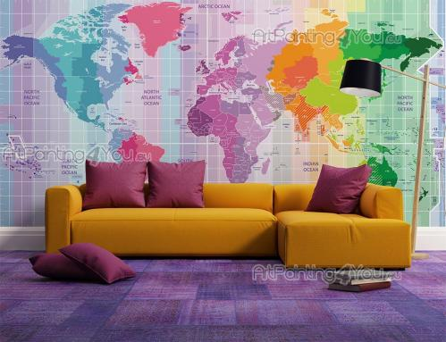 World Map and Travel Wall Murals & Posters - Imagine you'd be able to travel anywhere you wanted! Be motivated to discover new places with a colourful, very decorative wall mural for your living ...