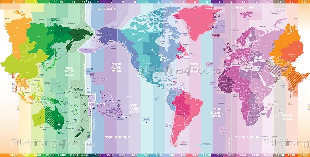 carte du monde avec fuseau horaire