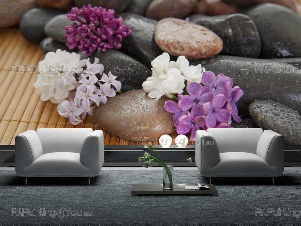 Wallpaper steine blumen  Fototapeten & poster Zen Stein & Blumen (MCZ1027de ...