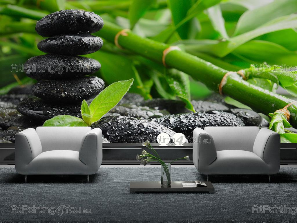 Wall murals posters zen stones bamboo for Papel para paredes salon