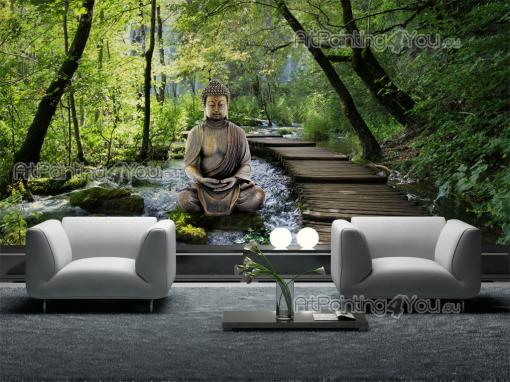 Zen Garden - Wall murals with statue of a buddha in a zen garden with a beautiful waterfall