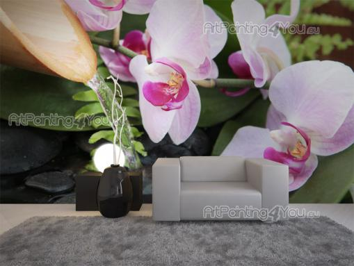 Zen Fountain & Orchids - Zen and Spa Wall Murals & Posters